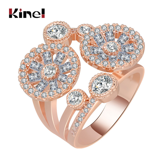 Kinel Fashion Rose Gold Cocktail Rings For Women Inlay Cubic