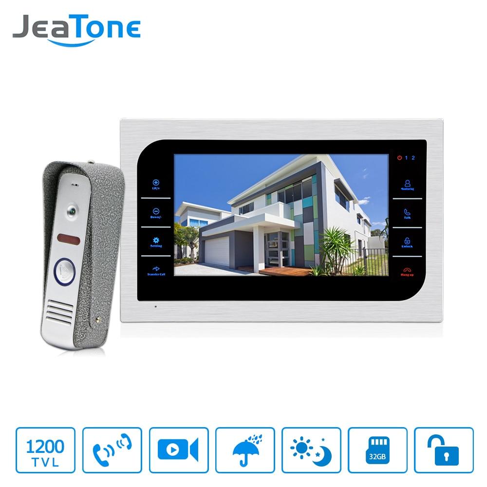 JeaTone 7 Inch TFT LCD Door Phone Video Doorbell System With Camera 3 7mm Lens 1200TVL