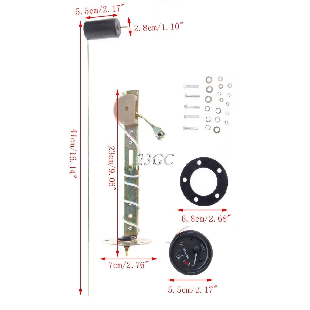 52mm Car Fuel Level Gauge Meter w/ Fuel Sensor E-1/2-F Pointer 12V Universal O24