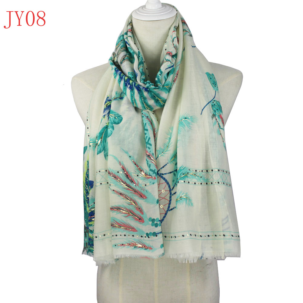 083b41494 Fashion Women Soft Cotton Long Feather luxury Scarf Large golden silver  foil print Wrap Lady Girls Shawl Scarves brand-in Women's Scarves from  Apparel ...