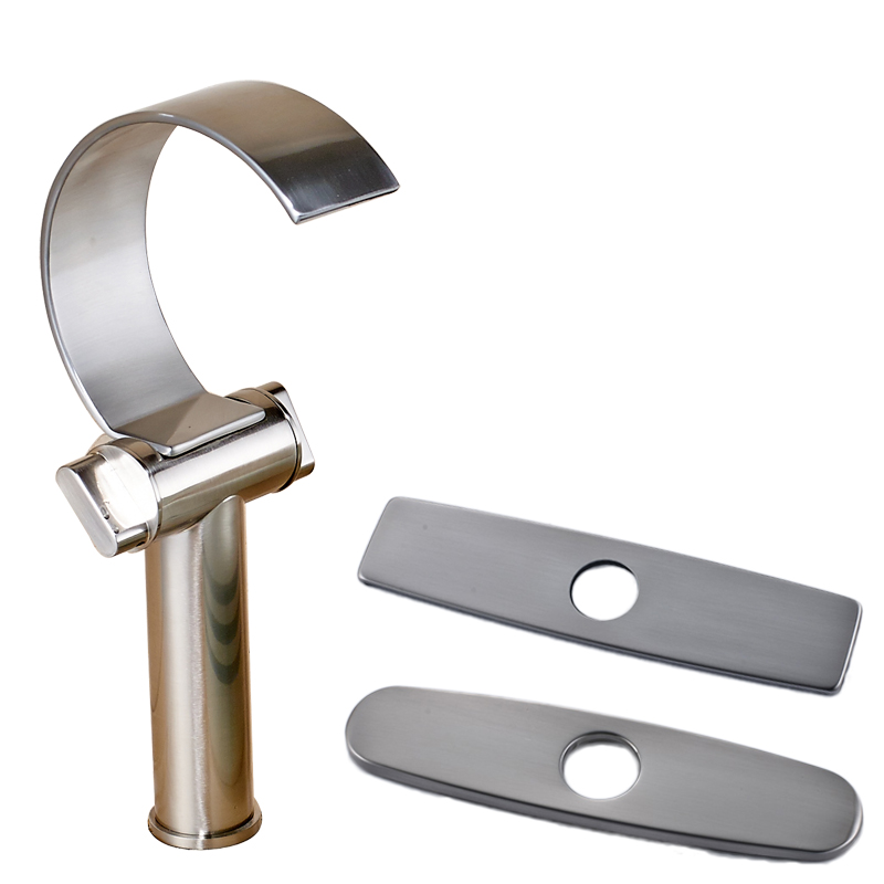 Brushed Nickel Dual Handle Bathroom Single Hole Basin Sink Taps with 3 Hole Cover Plate Deck Mounted Bathroom Mixer Faucet wall mounted dual handle waterfall basin faucet brushed nickel hot and cold wash basin mixer taps