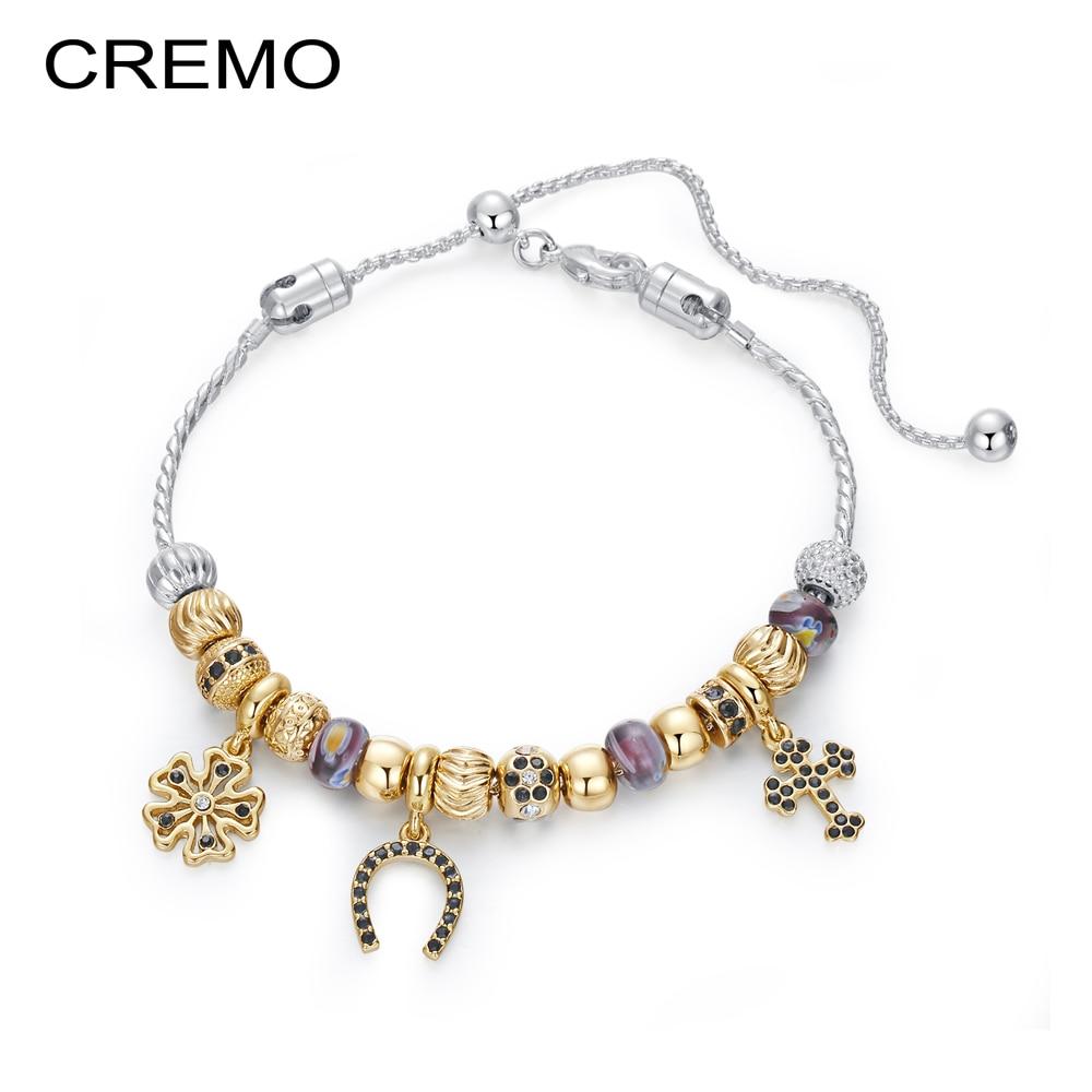 Cremo Fashionable Gold Charms Bracelet & Bangles For Women Jewelry Design Zinc Alloy Bracelet Marking Pulseras Mujer Moda 2018