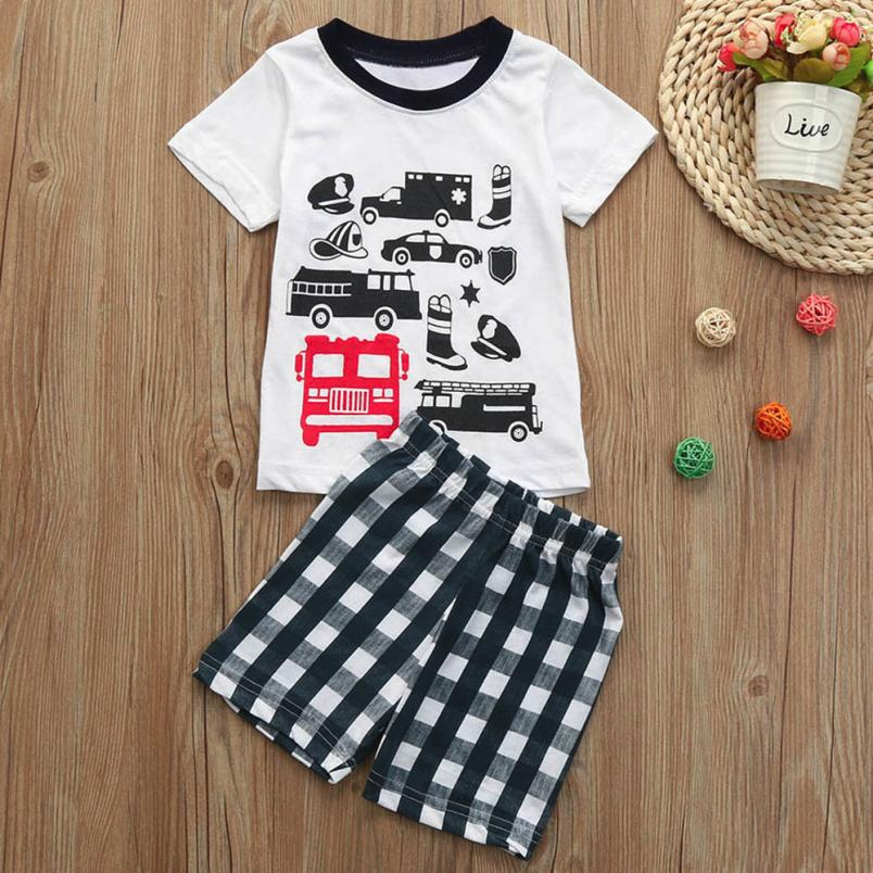 Clothing Sets Honest Muqgew Boys Kids Auto Car Traffic Police Transportation Tops Lattice Pants Outfits Sets For Toddlers Children #xtn*