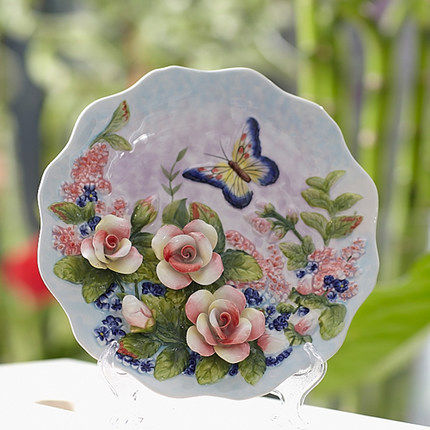 Butterfly porcelain decorative plates for hanging ceramic relief hand-painted plate dish wall decoration wedding gifts & Online Shop Butterfly porcelain decorative plates for hanging ...