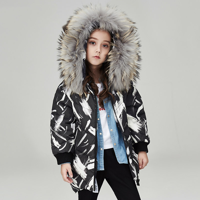 2017 Down Jacket for Girls Teens Winter Thick Warm Clothes Furry Collar Kid's Great Coat Cute Clothing 56789 10 11 12 Years old 2017 men down jacket winter warm collar fur trim hood coat outwear puffer down cotton long jacket clothes thick canada cheap top