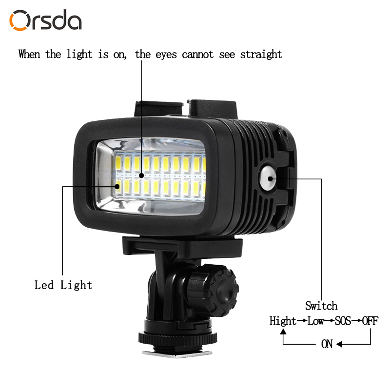 Image 5 - Orsda Diving Light Video LED High Power Outdoor Waterproof Lamp For GoPro SJCAM Sports Action Cameras flash gopro Lights-in Sports Camcorder Cases from Consumer Electronics