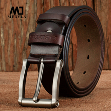 MEDYLA Cowhide Leather Belt Genuine Leather Men Belts Black