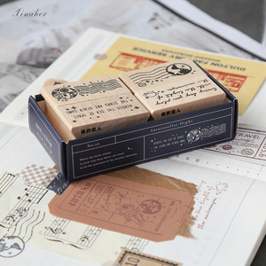 Image 2 - XINAHER בציר קוסמי נסיעות ירח תווית חותמת DIY עץ גומי בולים רעיונות מכתבים רעיונות בול רגיל