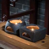 Japanese style Warm Tea Stove Ceramic Vintage Base Candle Heated Flower Tea Coffee Shelf Teapot Holder Tea Ceremony Accessories