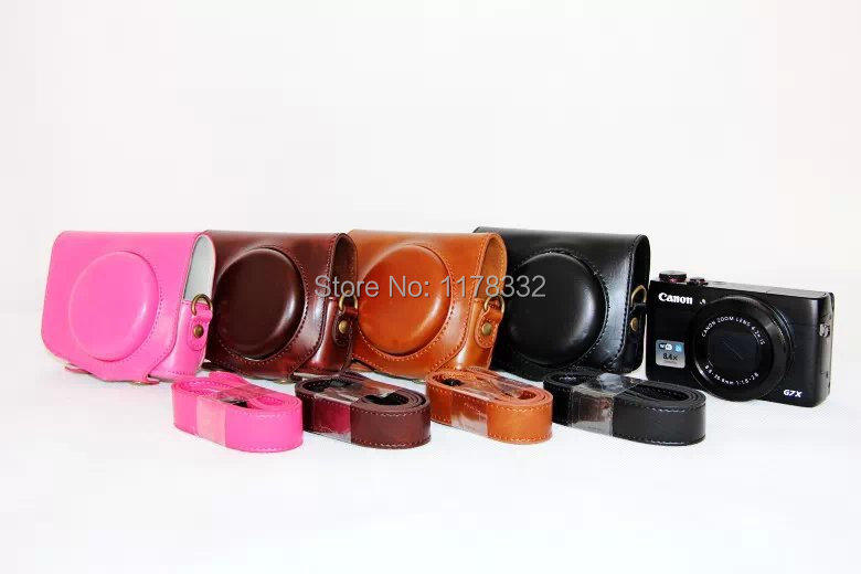 Leather Camera Bag Case + Shoulder Strap For Canon G7X G7 X Camera