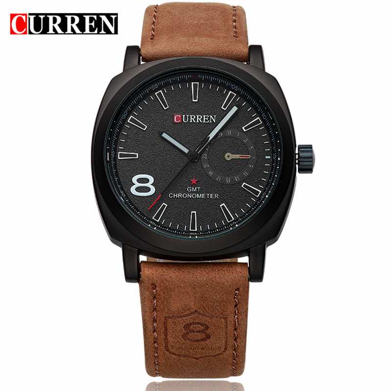 CURREN Military Watches Men Brand Luxury Leather Strap Quartz Men Watch Fashion Casual Sport Clock Male Watch Relogio Masculino genuine curren brand design leather military men cool fashion clock sport male gift wrist quartz business water resistant watch