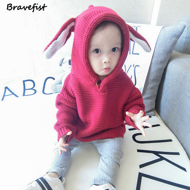 1b2b7b281441 Autumn Winter Boys Sweater 3D Rabbit Bunny Pullover Kids Girls ...