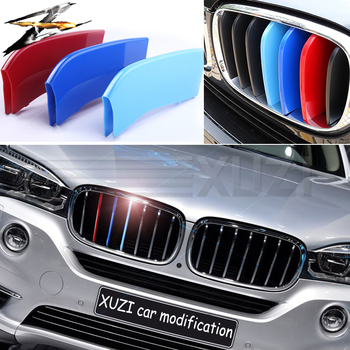 3 pcs 3D Front Car Grille Grade Trim Cover Motorsport Stickers for BMW F30 F10 3 4 5 Series X3 X4 X5 X6 M Power Performance image