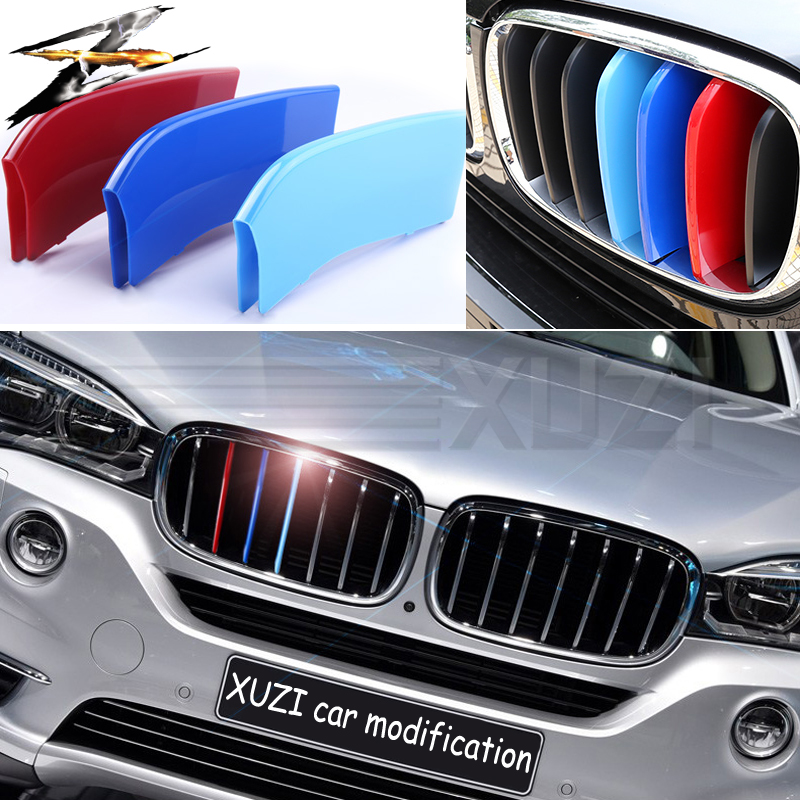3 pcs 3D Front Car Grille Grade Trim Cover Motorsport <font><b>Stickers</b></font> for BMW F30 <font><b>F10</b></font> 3 4 5 Series X3 X4 X5 X6 M Power Performance image