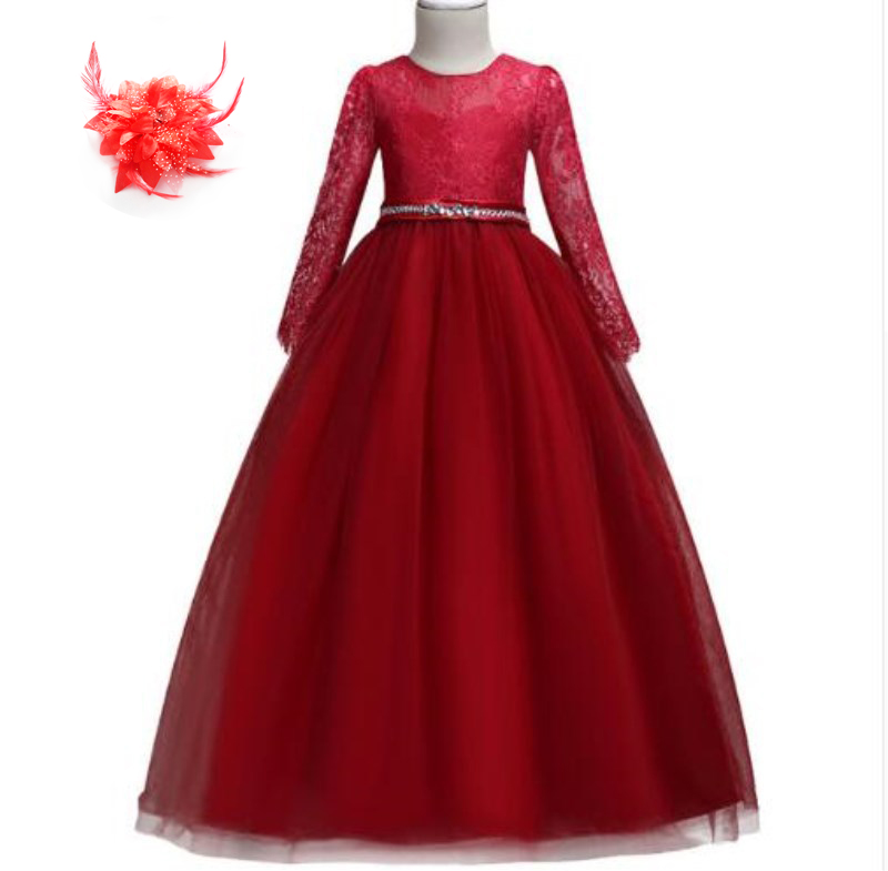 Rouge bleu lavande robe de bal filles Princes robe de bal de mariage fête d'anniversaire à manches longues soirée robes formelles pour les Juniors Long
