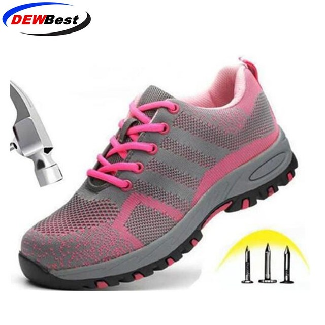 DEWBest brand steel toecap women men work & safety boots steel mid sole impact resistant soft male shoes plus size