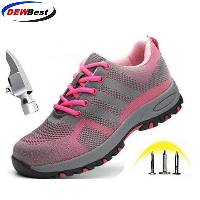 DEWBest marka çelik toecap kadın erkek çalışma ve güvenlik botları çelik orta taban darbeye dayanıklı yumuşak erkek ayakkabı artı boyutu