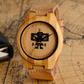 Cool Recorder Robot Design Light Wood Watch with Brown Genuine Leather Band Hand-made Quartz Wooden Wristwatch for Men