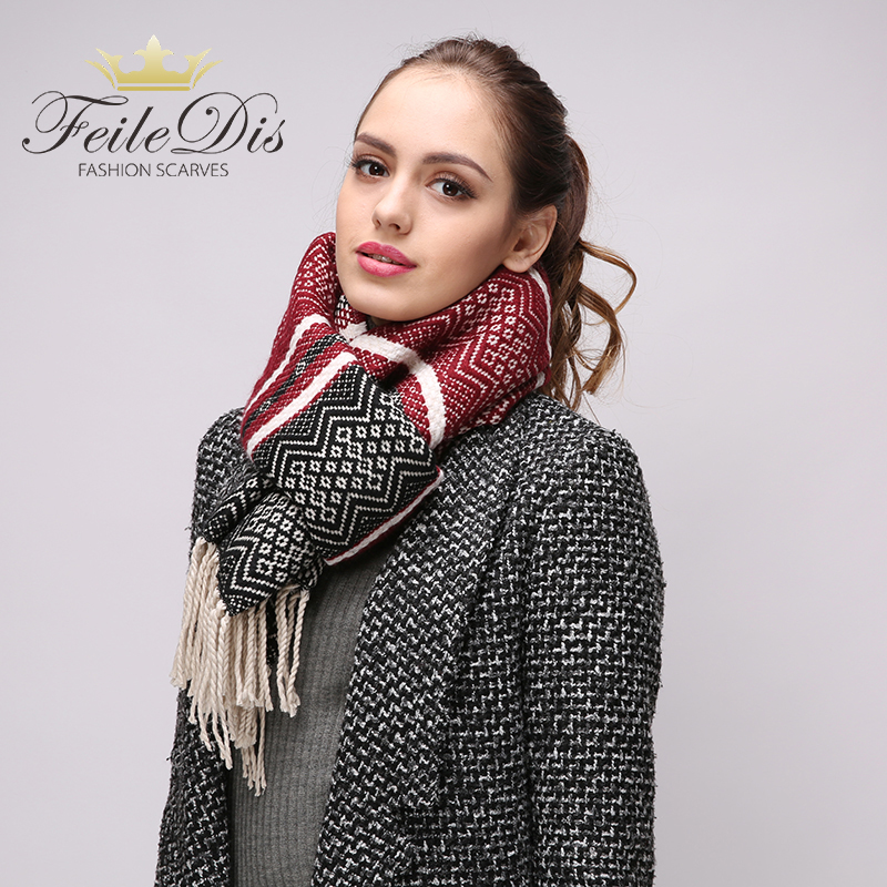 [FEILEDIS]High quality ladies wool scarves winter thick warm long scarf fashion plaid multi-purpose shawl FD229