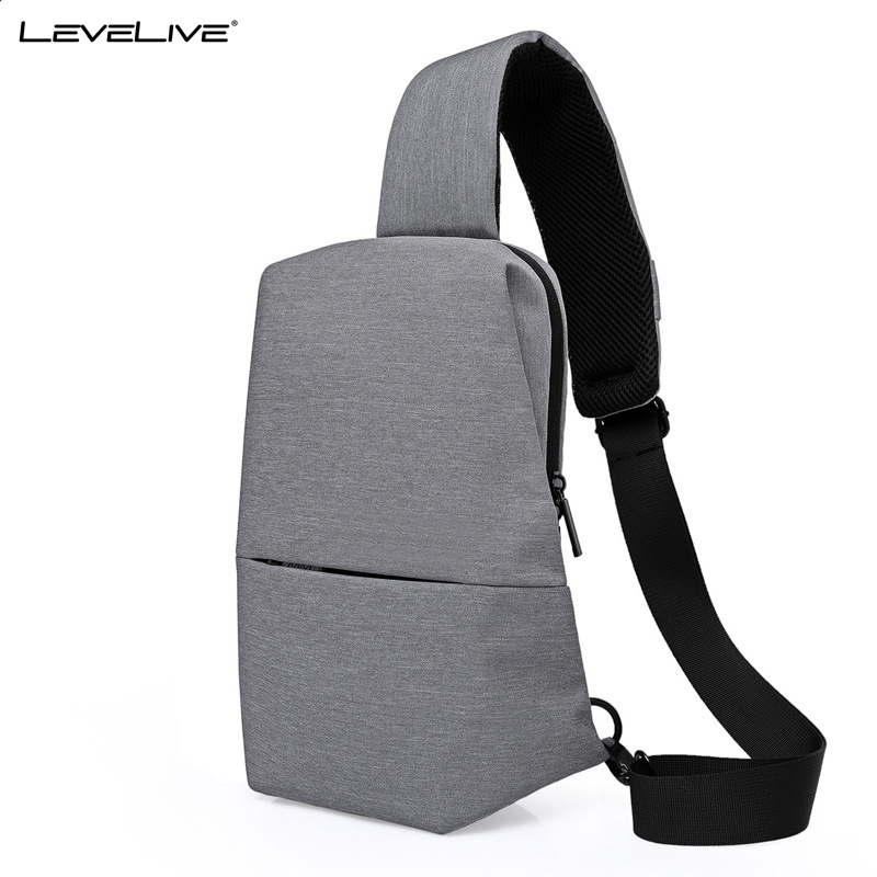 LeveLive New Fashion Mens Waterproof Chest Bags for 9.7inches iPad Womens Crossbody Shoulder Bag Male Female Sling Chest Pack