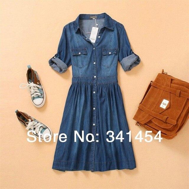 6a60c2e287 jeans dress lady s denim one piece dress teenage girls fashion blue slim  jeans croche half three quarter sleeve dress