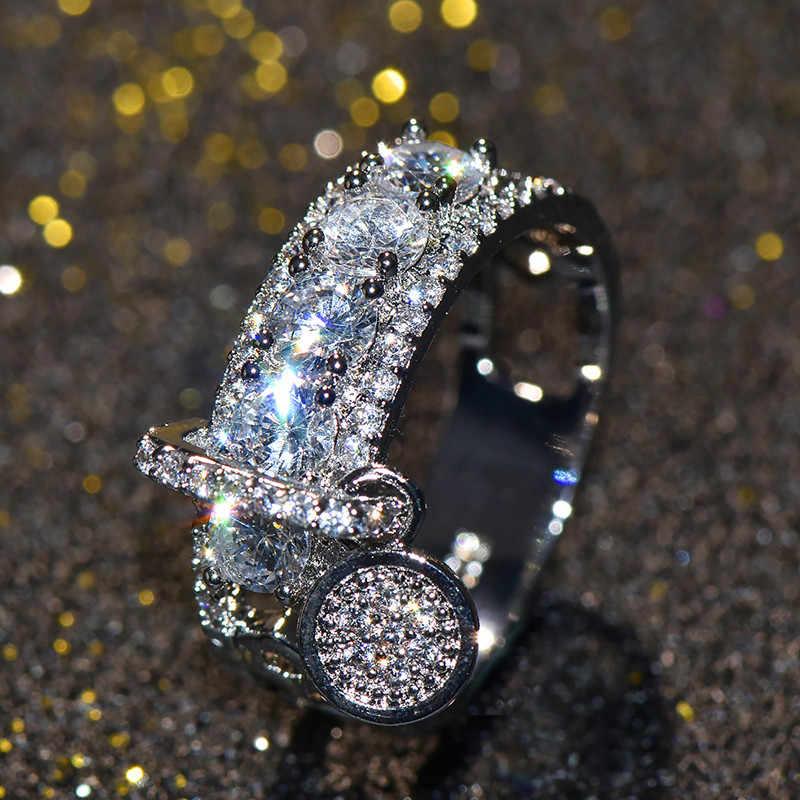 หญิงหรูหราคริสตัล Zircon แหวนหินสไตล์แฟชั่นที่ไม่ซ้ำกัน Rose Gold Silver เครื่องประดับ Vintage สำหรับบุรุษและสตรี