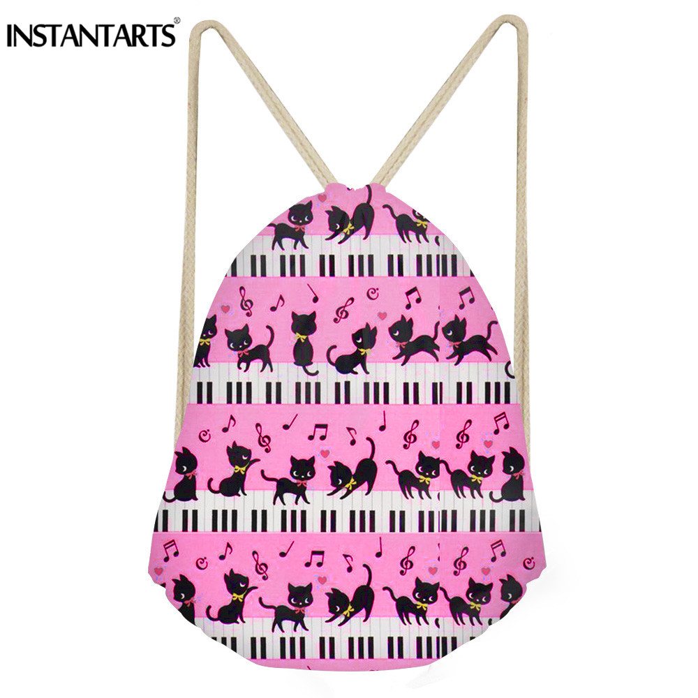 INSTANTARTS Cute Puppy Cat Print Women Girl Mini Drawstring Bag Music Note With Piano Keyboard Backpack