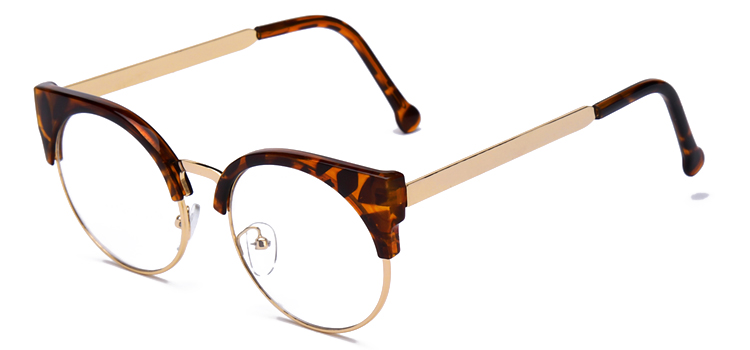 Женские очки, кошачий глаз, очки, Ретро стиль, половинная оправа, металлические оправы для очков, по рецепту, оптическая близорукость, компьютерные прозрачные очки - Цвет оправы: leopard