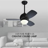 Nordic Coffee Shop Fan Lamp creative Restaurant Ceiling Fan Modern Simple Macaron Bedroom Living room Fan Lamp Free Shipping