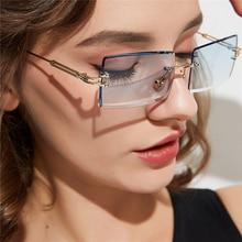 PAWXFB 2019 Small Rectangle Sunglasses women Rimless Square Sun glasses for female summer style Blue