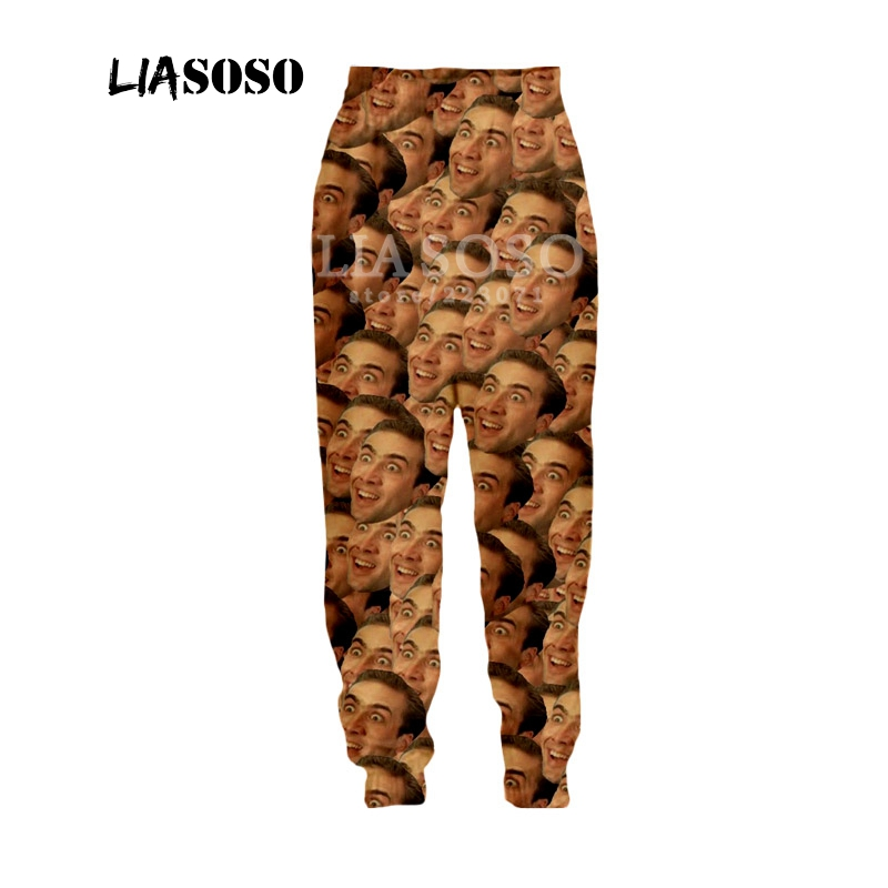 LIASOSO Autumn New Men Women Fashion Pants 3D Print Star Nicolas Cage Trousers Sports Fitness Loose Hip Hop Trousers B054-09