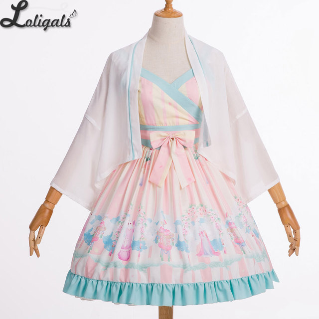 4b9605155 Women's Ancient Chinese Qi Lolita Dress Han Dynasty Printed Hanfu Dresses