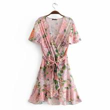 Yfashion Summer Fashion Bohemia Style Printing V-neck Bandage Beach Dress for Women Girl
