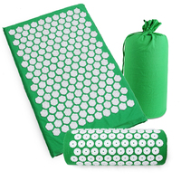Yoga Lotus Spike Acupressure Mat Pillow Set Back Body Massager Acupuncture Cushion Mat Relieve Stress Tension Pain w/ Carry Bag