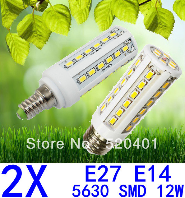 Free shipping 2pcs/lot E27 E14 110/220V 5630 SMD 42led 12W white/warm white Led corn light bulb lamp 360 degree