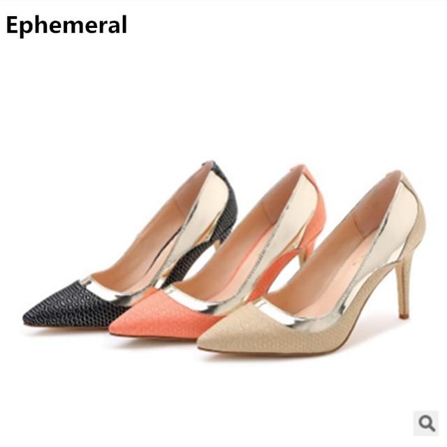 31ee16085a00 Ladies shoes super high heels stilettos plus size 12-3 gold black pumps  zapatos tacon cuadrado OL glitter slip-ons breathable