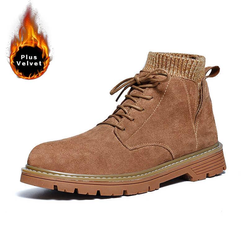 VKERGB 2019 Yeni Erkek Martin Çizmeler Chelsea pamuklu ayakkabılar Kış Artı Kadife Sicak Erkek Ayakkabıları Erkek rahat ayakkabılar İngiltere kar botu