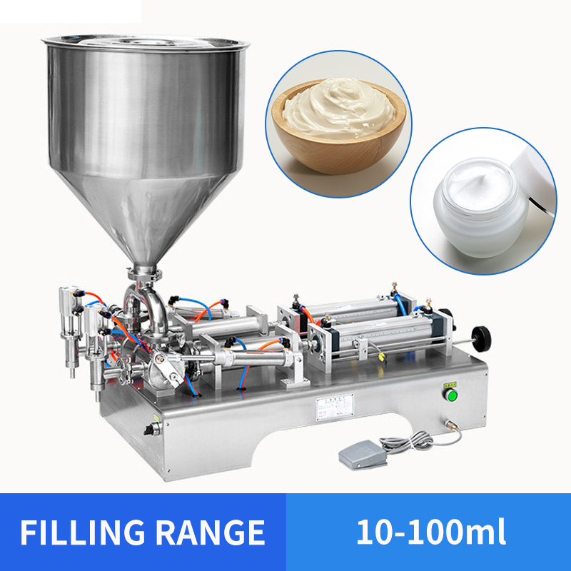 YTK 10-100ml Horizontal Double Heads Cream Shampoo Filling Machine Cosmetic Paste Filling Machine 950*420*380mm