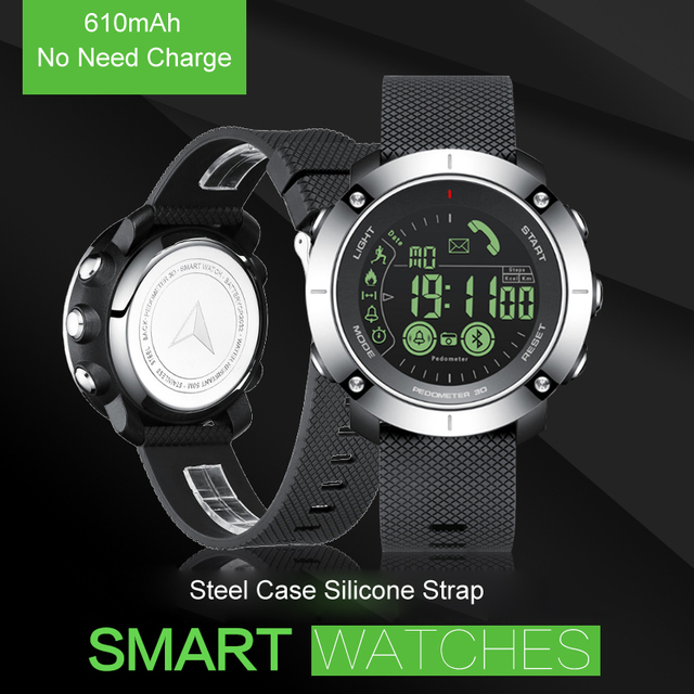 610mAh No Need Charge 5ATM Professional Waterproof Design Wristwatch Sport Watch Bluetooth Smart Watch Pedometer for IOS Android