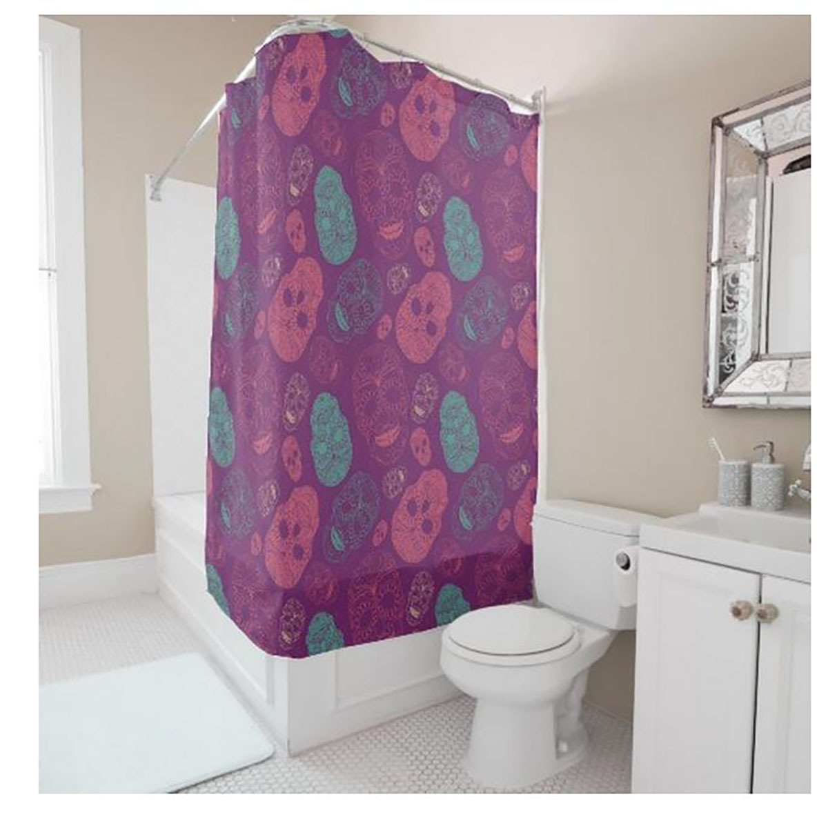 With creative shower curtains white and black creative shower curtain - Creative Personalized Skull Printing Purple Shower Curtain Polyester Waterproof Bathroom Shower Curtain China