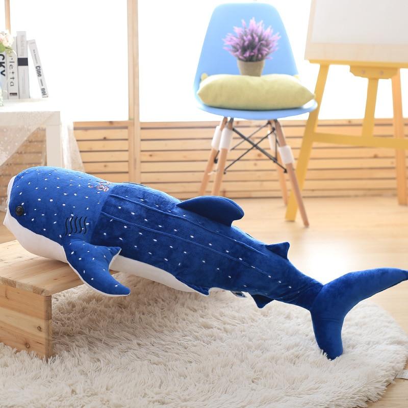 55cm 2018 new blue shark plush kids toys big fish cloth doll whale