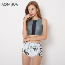 AONIHUA Quiet Rogue | 2018 High waist Bikini set Women Leaves print Swimwear Crop top Swimsuit Beach swimming suit Biquini 9033