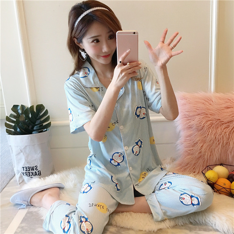 Womens pajamas Sets Sleepwear Shirt and Shorts Sets Summer Style Pyjama Femme Pijamas Womens Pajama Large Size Pajamas Girls ...