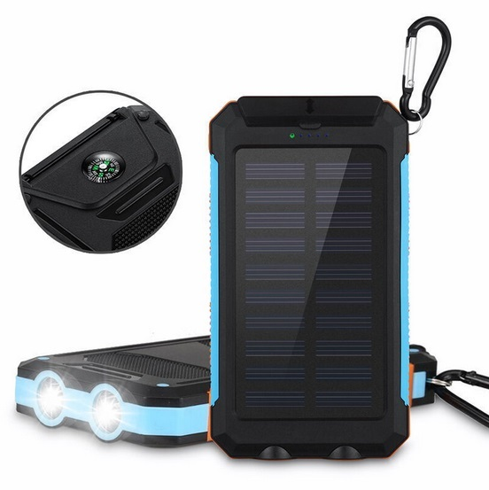 Waterproof Solar Power Bank Real 20000 mAh Dual USB External Polymer Battery Charger Outdoor Light Lamp Powerbank Ferisi solar powered 2600mah external li polymer battery charger power source bank black
