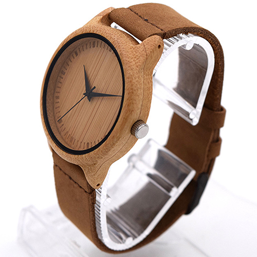 Women s Men s Retro Genuine Leather Band Wooden Case Quartz Wrist Watch Gift
