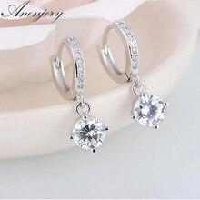 ANENJERY – boucles d'oreilles en argent Sterling 925 pour femmes, bijoux en mosaïque de Zircon à quatre griffes, S-E401