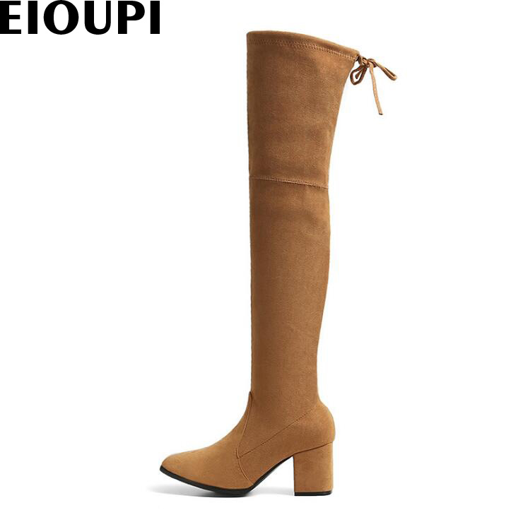 EIOUPI spring autumn winter snow boots nubuck suede leather thick heel women over the knee thigh high boot AKDA84331-S1 2017 sexy thick bottom women s over the knee snow boots leather fashion ladies winter flats shoes woman thigh high long boots