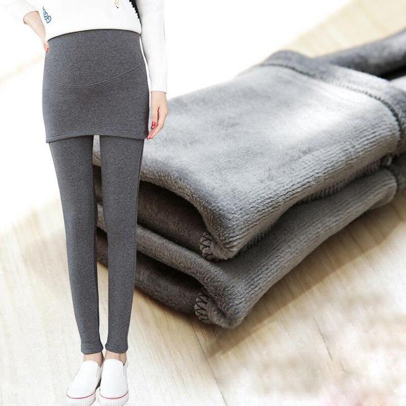 Zelfverzekerd Nieuwe Mode Winter Moederschap Leggings Broek Kleding Voor Zwangere Vrouwen Warm Hoge Taille Elasticiteit Slim Zwangerschap Broek Xl71
