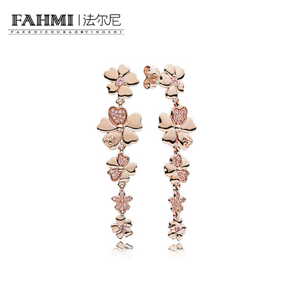FAHMI 100% 925 Sterling Silver Genuine New Cherry Blossom Tassel Charm Gem Rose Gold Earrings Original Women Jewelry 0