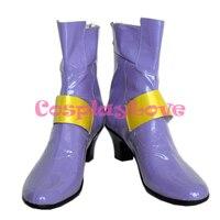 Magical Girl Lyrical Nanoha Fate Testarossa Harlaown Purple Cosplay Shoes Boots Hand Made Custom Made For